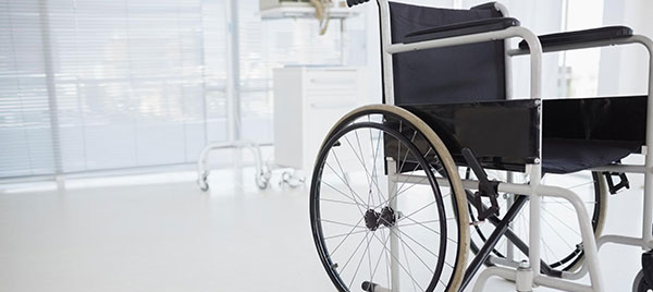 empty wheelchair in hospital